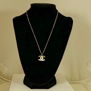 Chanel CC White Enamel Pendant Necklace